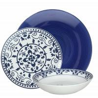 Vajilla gres y porcelana azul y blanca Gypsy Tognana 18 piezas