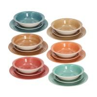 Vajilla gres en 6 colores Amber Tognana 18 piezas
