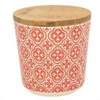 Bote redondo de plástico rojo y blanco con tapa bambú hermética Agadir Tognana 47 cl 10,5x10,5h cm