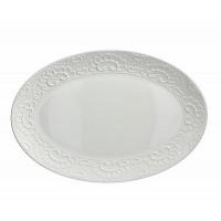 Bandeja fuente ovalada cerámica blanca con borde relieve Flos 45x30 cm