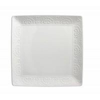 Bandeja fuente cuadrada cerámica blanca con borde relieve Flos 35x35 cm