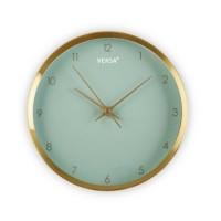 Reloj de pared aluminio dorado y esfera verde agua Ø25.8 cm