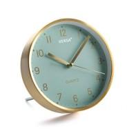 Reloj sobremesa aluminio dorado y esfera verde agua Ø16,2 cm