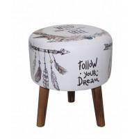 Taburete puff redondo patas madera y textil estampado plumas y flechas 31x36h cm