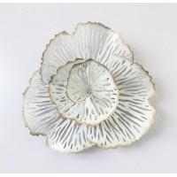 Cuadro adorno metálico flor beige Ø30x10 cm