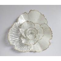 Cuadro adorno metálico flor beige Ø54x14 cm