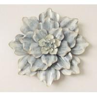 Cuadro adorno metálico flor azul y beige Ø38x6 cm