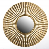 Espejo redondo marco metálico dorado onda Origami 89x3 cm