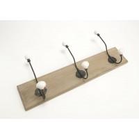 Perchero madera oscura 3 colgadores metal con cerámica 54x22h cm