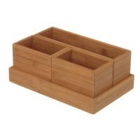 Organizador de mesa o portamandos madera bambú 28x18x15 cm