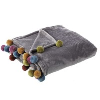 Manta plaid Rainbow gris con pompones colores 130x160cm