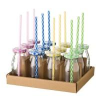 Botella cristal con tapa y pajita en 4 colores rosa, azul, amarillo o verde 220ml