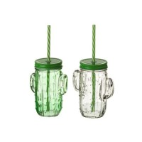 Jarra-bote cristal forma cactus con relieve tapa, asa y pajita verde o transparente 420ml