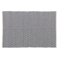 Alfombra rectangular grande algodón impresa rombos azul noche 120x180 cm
