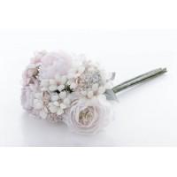 Ramo bouquet flores rosas y blancas con nieve Ø25x40h cm