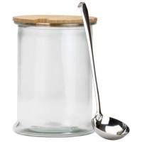 Ponchera cristal con tapa de madera y cazo de acero 5 litros 19x26 cm