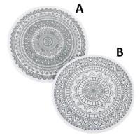 Alfombra redonda algodón y poliéster impresa Mandala gris 90 cm