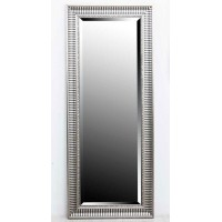 Espejo madera marco rayas negras y plateadas 40x120 cm