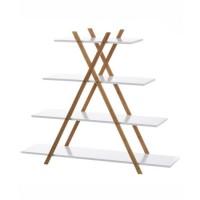 Estantería madera bambú y MDF 4 baldas blancas Pirámide 125x30x103h cm