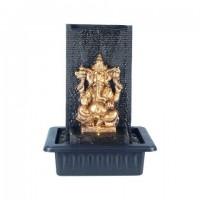 Figura resina Elefante Ganesha dorado con fuente de agua pared trasera 30,5x23,5x40h cm
