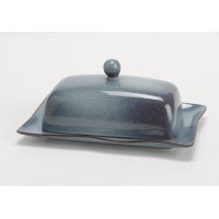 Mantequera cerámica con tapa azul bruma hecha a mano 20x13xh8 cm