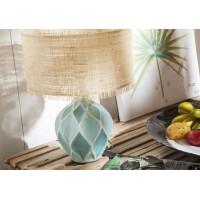 Lámpara de mesa base cerámica azul rombos pantalla rafia Bella Ø30x40h cm