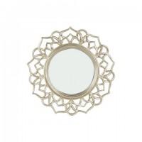 Espejo redondo marco resina champagne flor 23cm