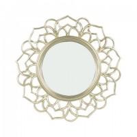 Espejo redondo marco resina champagne flor 30cm