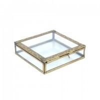 Caja joyero vintage con tapa metal dorado decorado con hojas y cristal 16x16x4h cm