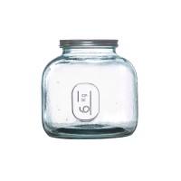 Bote galletero grande cristal transparente con tapa 6 kg 20x23cm