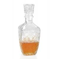 Botella vidrio licorera ovalada con relieve 9,5x9,5xh24cm
