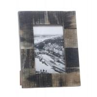 Marco de fotos hueso colores tierra mate rayado 10x15 cm