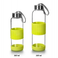 Botella de vidrio con tapón y asa transporte Sky verde 500ml