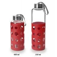 Botella de vidrio con tapón y asa transporte Lake rojo 550ml