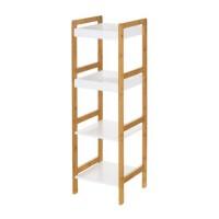 Estantería auxiliar 4 baldas mdf blanco y bambú 30x29x100h cm