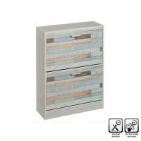 Zapatero mdf gris 2 puertas estampado maderas de colores 60x24x80h cm