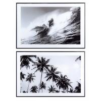 Cuadro imagen ola o palmeras con cristal y marco negro 60x40 cm