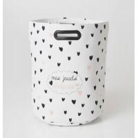 Cesto cubo redondo para ordenación blanco con corazones Valentine 38x52h cm