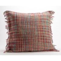 Cojín algodón con relleno punto multicolor con flecos 60x60 cm