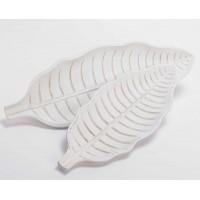 Bandeja madera hoja blanca pequeña 14x38 cm