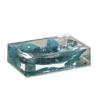 Jabonera acrílica transparente relleno piedras y hojas azules 13x9x3,5h cm