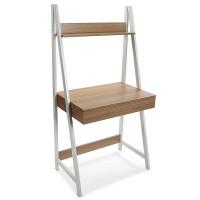 Mesa escritorio escalera con cajón y balda madera y metal 74x48x146,50h cm