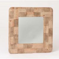 Espejo cuadrado marco tablas madera rústica 67x67 cm
