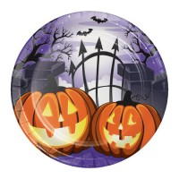 Platos papel redondos 18cm 8 unidades Calabazas Halloween Haunted House
