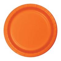 Platos papel redondos 23cm 8 unidades color naranja liso Halloween