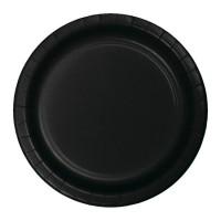Platos papel redondos 23cm 8 unidades color negro liso Halloween