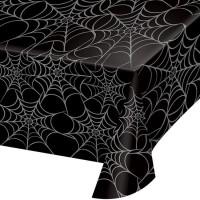 Mantel plástico negro con estampado telas de araña Halloween 274x137cm