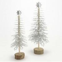 Figura decorativa Árbol Navidad madera y papel plata pequeño 33h cm