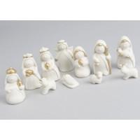 Belén nacimiento de Navidad porcelana blanca mate y oro 11 figuras