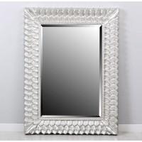 Espejo rectangular marco resina plateado hojas 92x122h cm